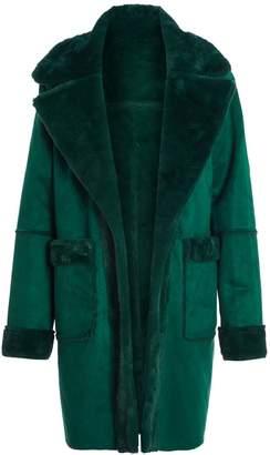 Quiz Bottle Green Reversible Faux Fur Long Jacket