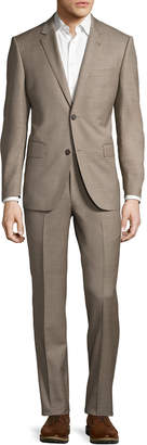 Neiman Marcus Two-Button Sharkskin Two-Piece Suit, Tan