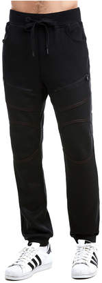 True Religion MENS CONTRAST STITCH COATED MOTO SWEATPANT