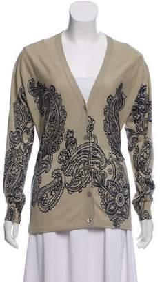 Etro Wool & Silk-Blend Paisley Cardigan