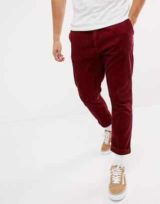 Benetton cropped cord trouser in red