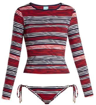 Melissa Odabash Cali Rash Guard Bikini - Womens - Navy Multi