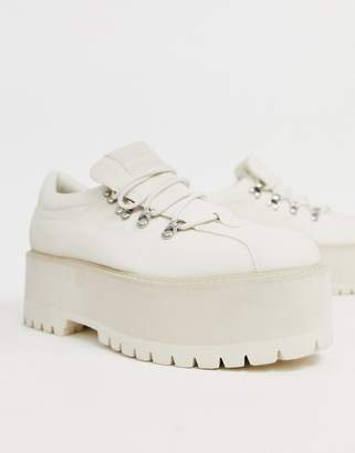Asos Design DESIGN lace up shoes in white faux leather with chunky platform sole
