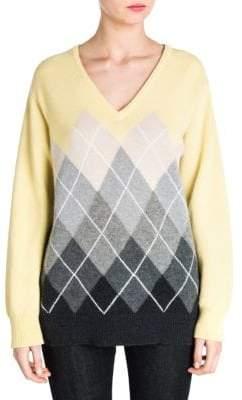 Miu Miu Cashmere V-Neck Argyle Sweater