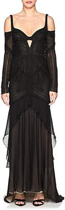 J. Mendel WOMEN'S RUCHED SILK LACE HIGH-LOW GOWN - BLACK SIZE 6