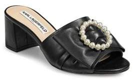 Karl Lagerfeld Paris Henri Faux Pearl-Embellished Leather Block Heel Sandals