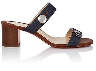 Christian Louboutin Women's Sandenim Slide Sandals - Blue, Noce lucido
