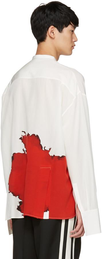 Haider Ackermann Ivory Collarless Graphic Shirt 2