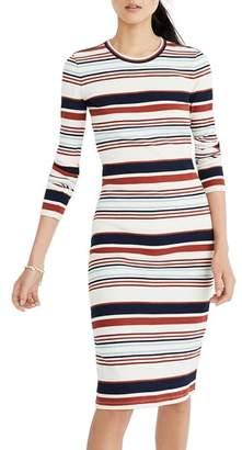 Madewell Multistripe Ribbed Long Sleeve Midi Dress