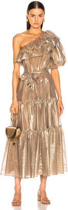 Lisa Marie Fernandez Arden Double Ruffle Dress in Gold Metallic | FWRD
