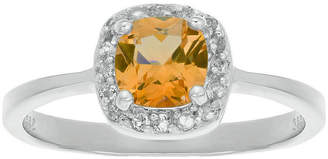FINE JEWELRY Cushion-Cut Genuine Citrine and White Topaz Sterling Silver Ring