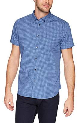 Calvin Klein Jeans Men's Short Sleeve Button Down Shirt Micro Dot Print