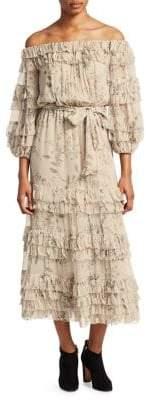 Zimmermann Unbridled Silk Ruffle Midi Dress
