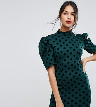 PrettyLittleThing Polka Dot Open Back Mini Dress