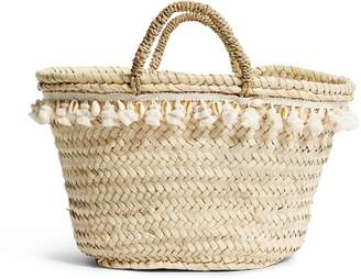 Rae Feather Small Wicker Shell Trim Basket Bag