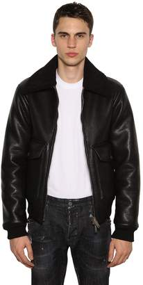 DSQUARED2 AVIATOR BOMBER JACKET W/FAUX SHEARLING