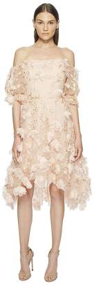 Marchesa Off the Shoulder 3D Embroidered Cocktail w/ Blouson Sleeves