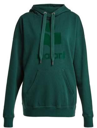 Etoile Isabel Marant Mansel Flocked Cotton Jersey Hoodie - Womens - Dark Green