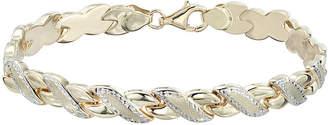 JCPenney FINE JEWELRY Two-Tone 10K Gold 8 Diamond-Cut Stampato Link Bracelet