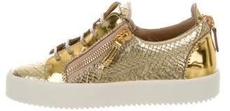 Giuseppe Zanotti Metallic Lace-Up Sneakers