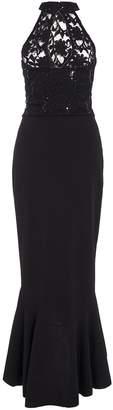Quiz Black Sequin Lace Turtle Neck Maxi Dress