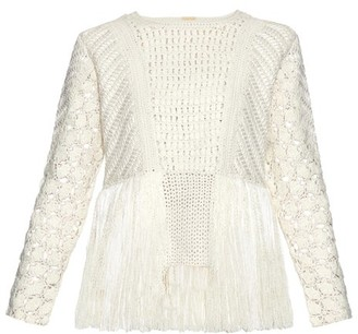 ADAM by Adam Lippes Fringed Crochet Panel Sweater - Womens - Ivory