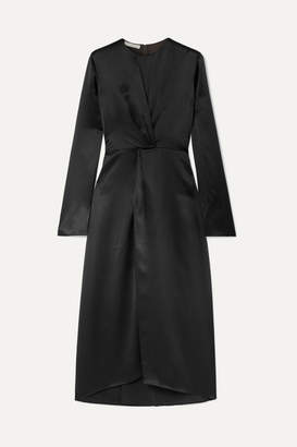 Vince Gathered Silk-satin Midi Dress - Black