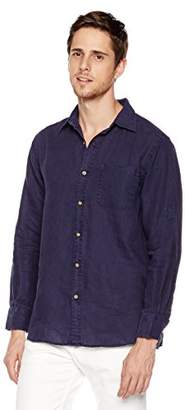 Isle Bay Linens Men's Standard-Fit 100% Linen Long-Sleeve Woven Vintage Shirt