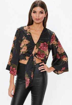 Missguided Black Floral Tie Hem Crop Top