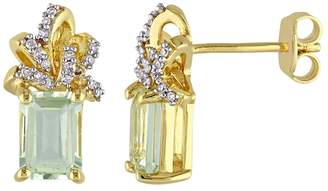 Laura Ashley Sterling Silver Green Quartz & 1/10 Carat T.W. Diamond Bow Stud Earrings $650 thestylecure.com