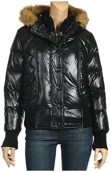 DKNY Jeans - Faux-Fur Trim Puffer Coat (Black)