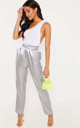 PrettyLittleThing Silver Grey Satin Cigarette Casual Trouser