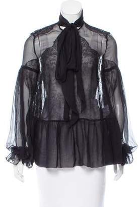 Givenchy 2015 Lace-Accented Long Sleeve Blouse w/ Tags
