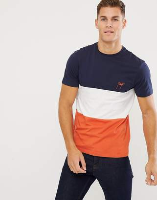 New Look colourblock t-shirt with Toronto embroidery in orange