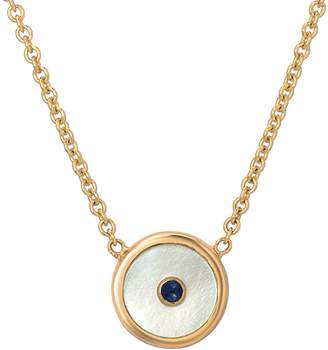 Mother of Pearl Retrouvaí Mini Compass Sapphire Necklace