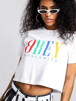 Obey Chess King Crew Neck T-Shirt in White