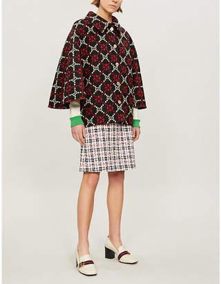Gucci Logo wool-jacquard cape coat