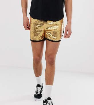 Reclaimed Vintage festival sequin shorts in gold