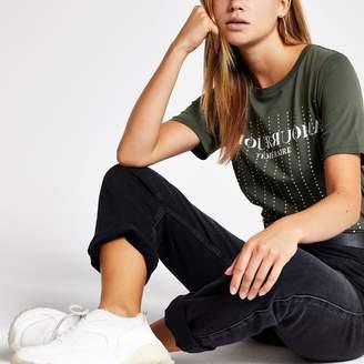 River Island Womens Khaki diamante embellished T-shirt