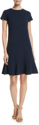 Oscar de la Renta Short-Sleeve Wool-Blend Shift Dress w/ Side Pleats