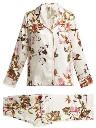 Morpho + Luna - Colette Floral Print Silk Pyjamas - Womens - White Print