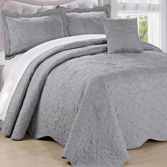 Unbranded Damask Coverlet 5 Piece Bedspread Set