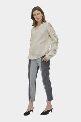Yigal Azrouel Chunky Knit Fringe Pullover