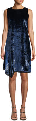 Elie Tahari Serenity Round-Neck Sleeveless Velvet Shift Dress