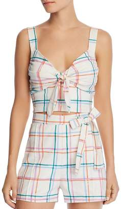 WAYF Matera Plaid Cropped Top