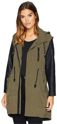 Blank NYC Hooded Olive Green and Vegan Leather Sleeves Jacket in Similar, But Different Women's Coat