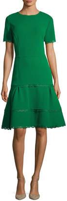 Oscar de la Renta Women's Scallop Trim Fit-and-Flare Dress