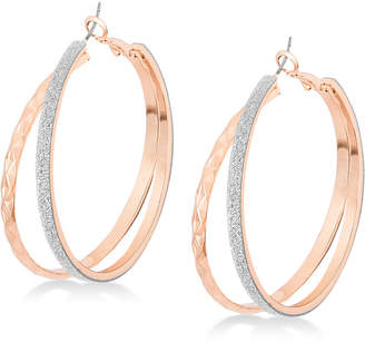 GUESS Rose Gold-Tone Glitter Double Hoop Earrings