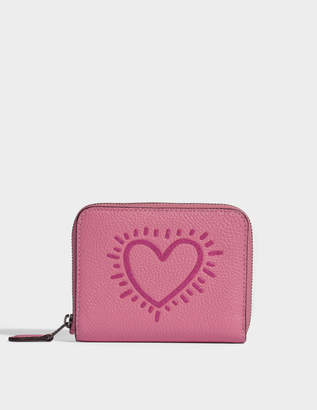 cb5d3c6747a0e Coach Small Zip Around Wallet in Bright Pink Leather