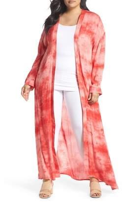 Glamorous Tie Dye Kimono Robe (Plus Size)